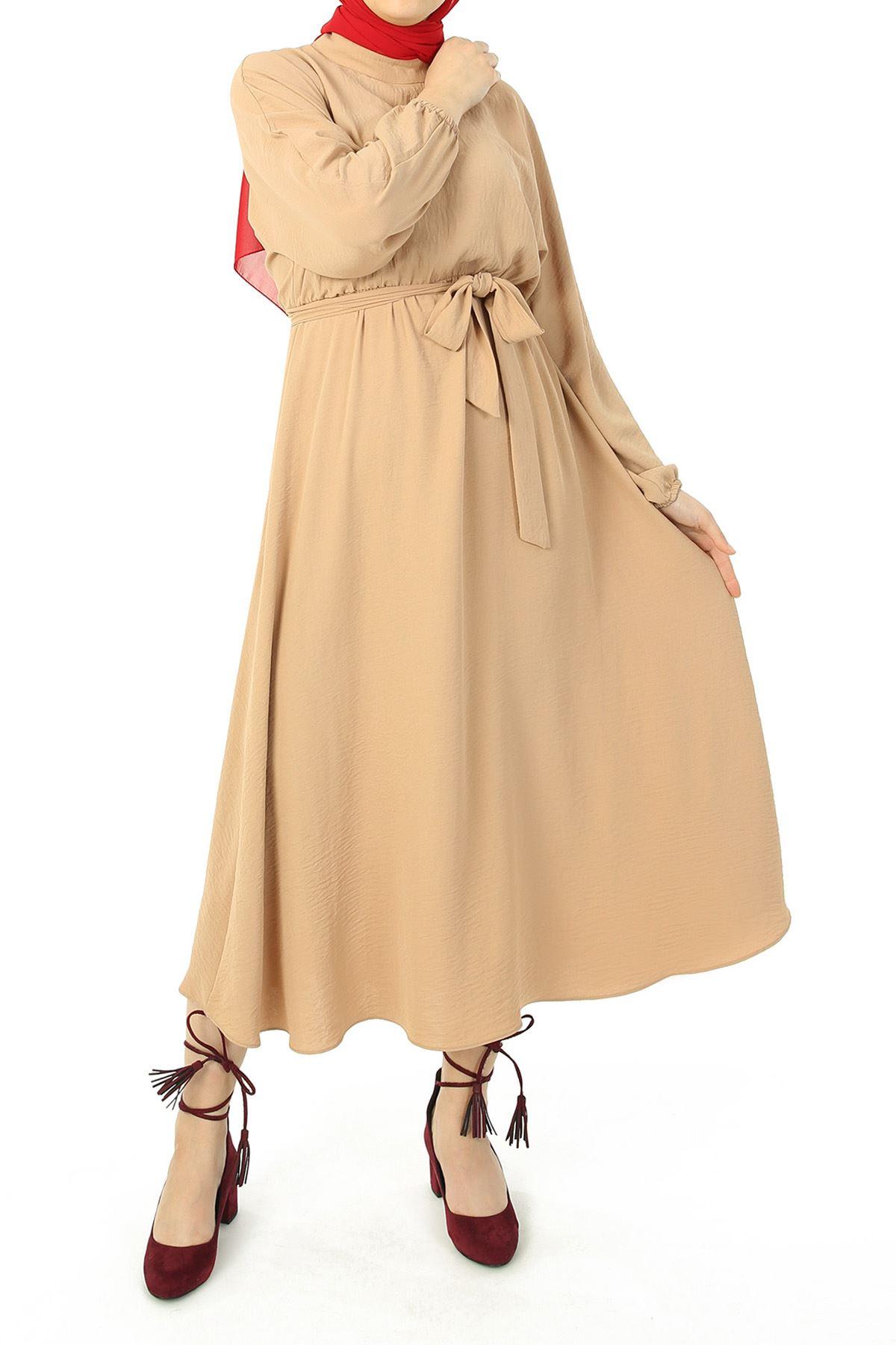 Bel Ve Kol Lastikli Kuşaklı Elbise-Taş
