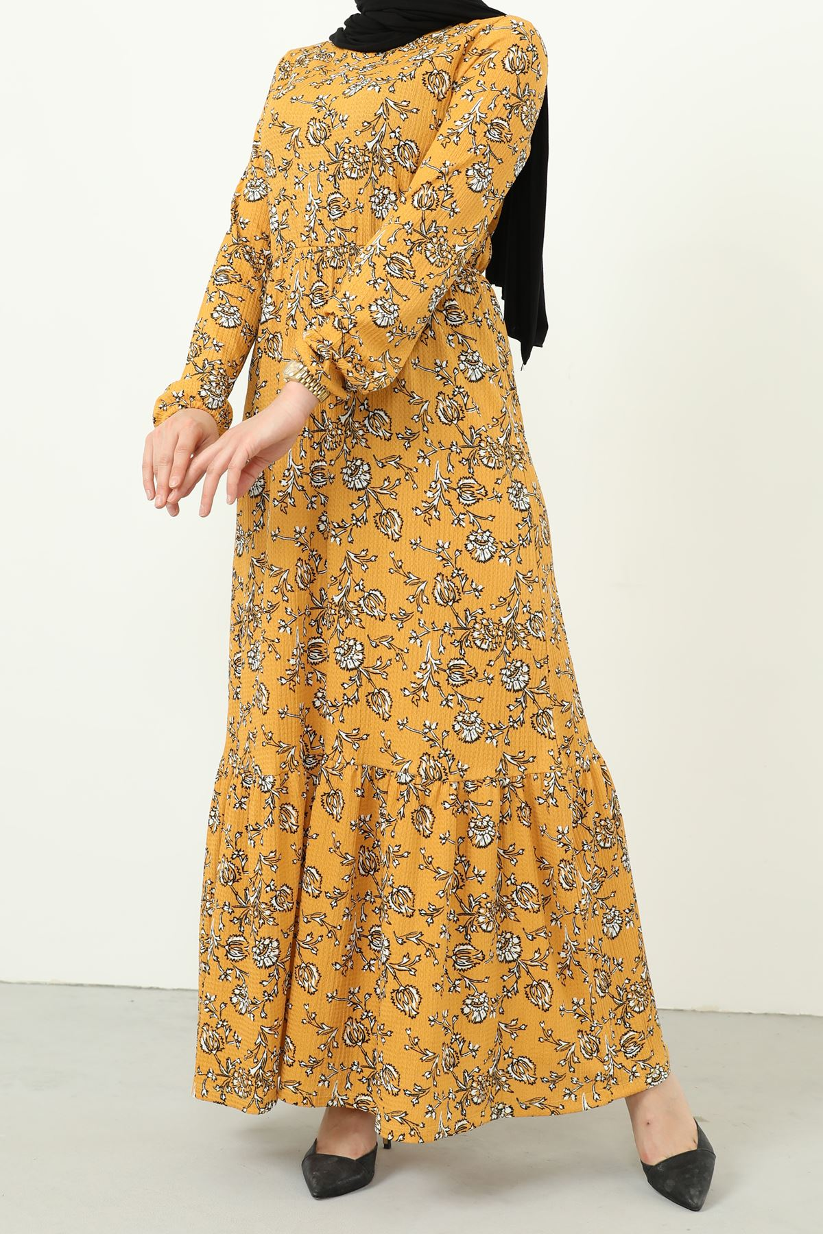 Eteği Fırfırlı Kolu Lastikli Elbise-Hardal