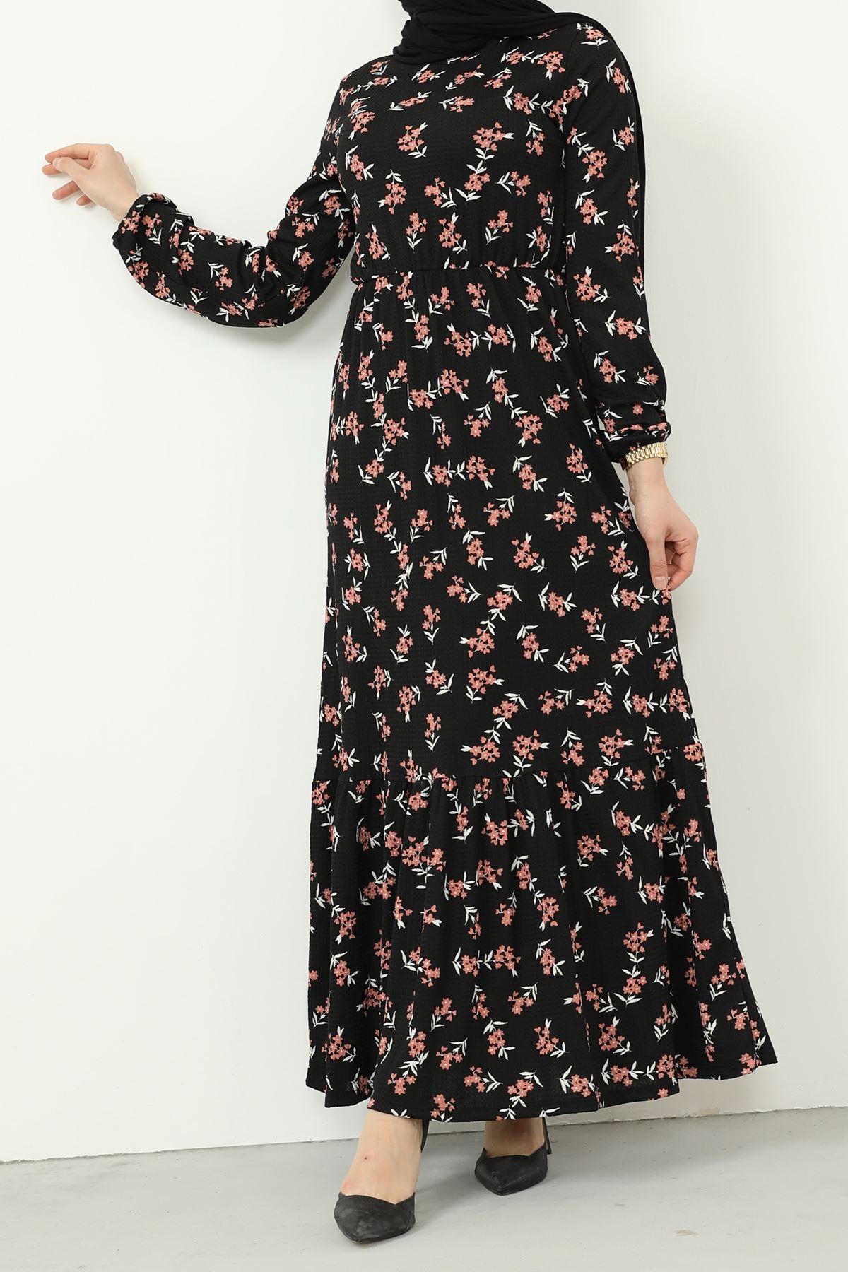 Eteği Fırfırlı Kolu Lastikli Elbise-Siyah