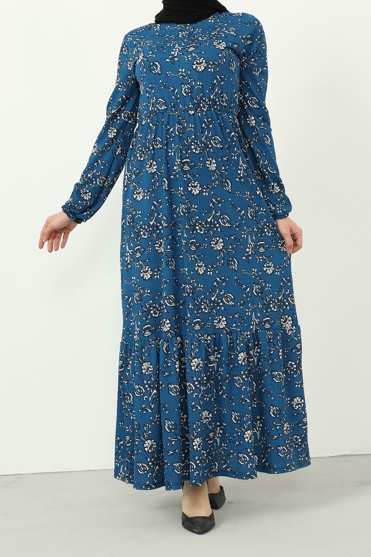 Eteği Fırfırlı Kolu Lastikli Elbise-İndigo