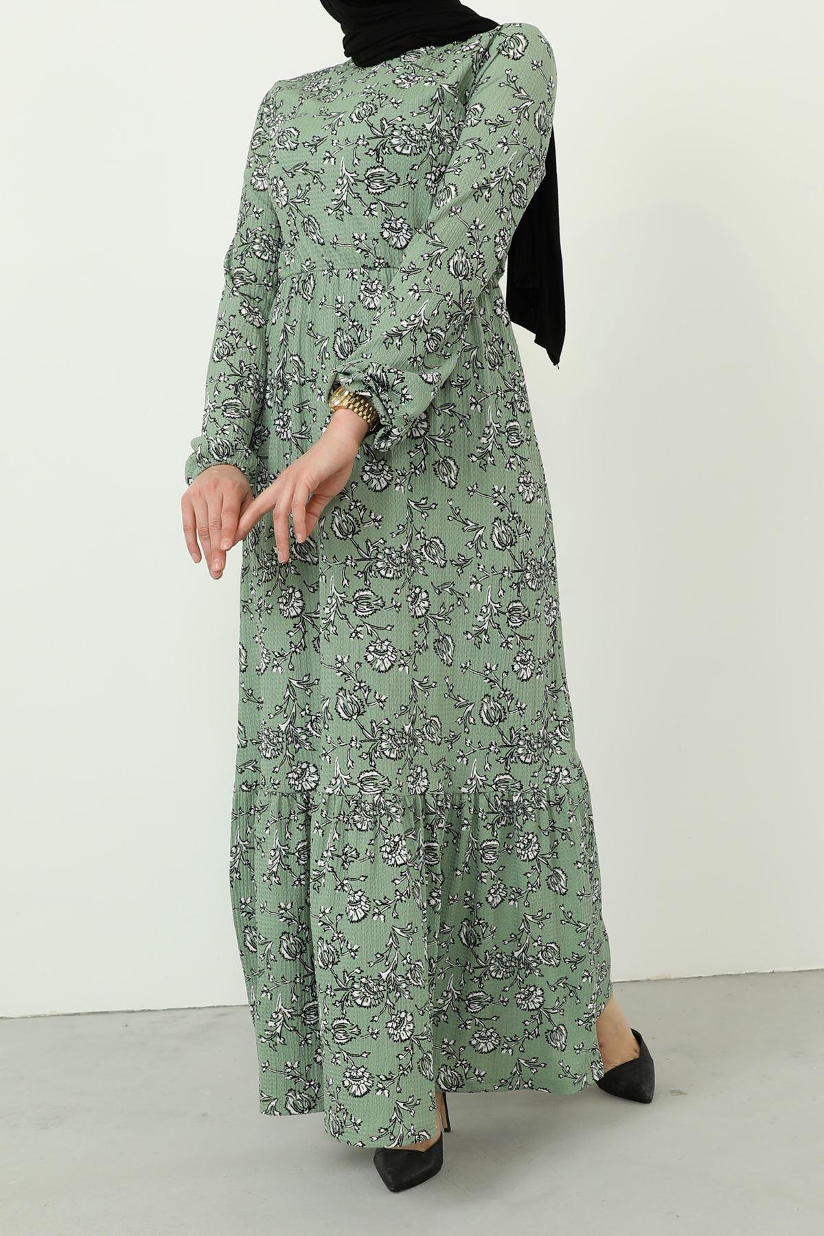 ASS-Eteği Fırfırlı Kolu Lastikli Elbise-Mint