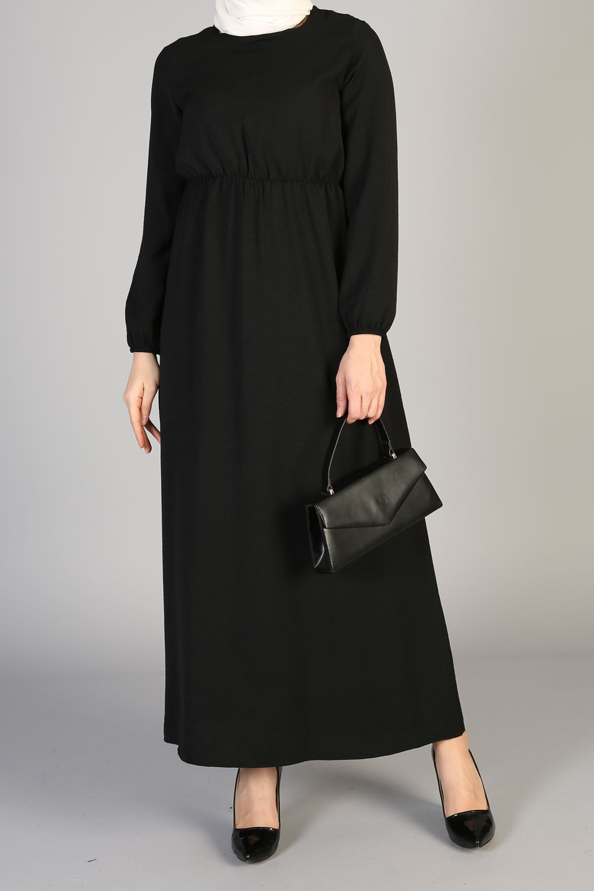 Bel Lastikli Elbise-Siyah