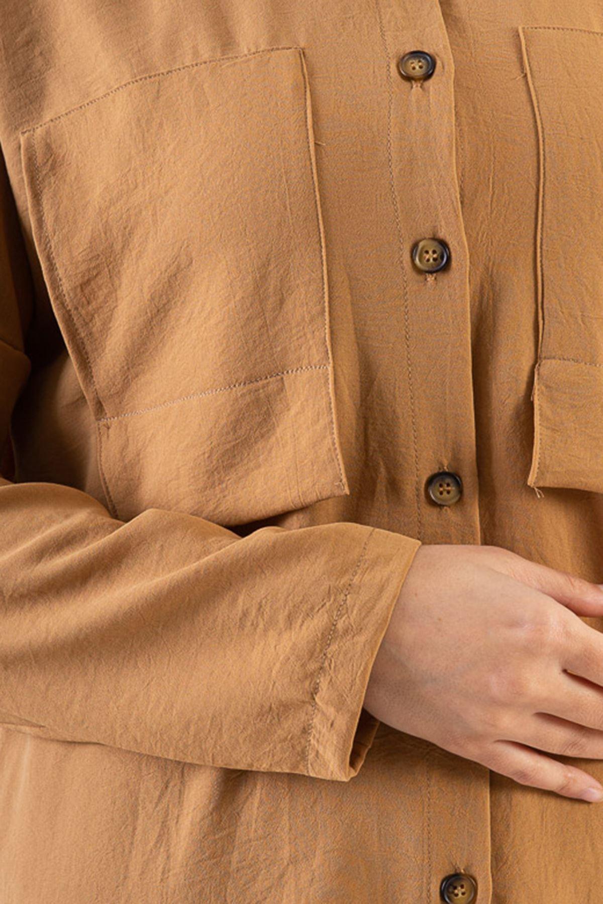 Ön Cep Detay Düğmeli İkili Takım-Karamel