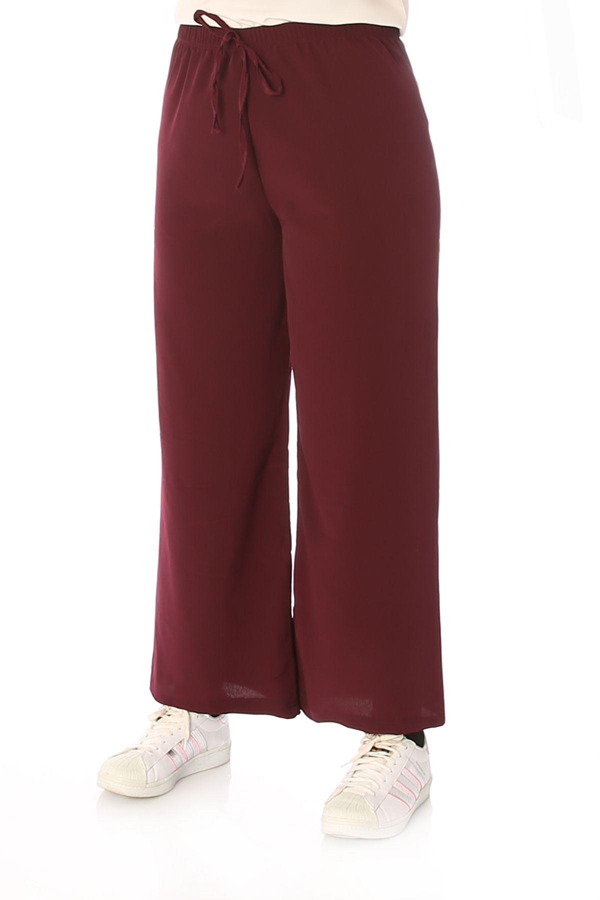 Bel Lastikli Salaş Pantolon-Mürdüm