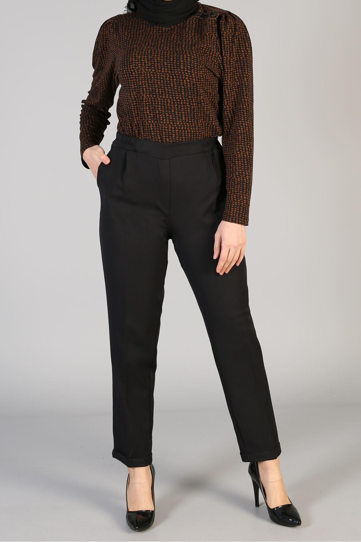 Bel Lastikli Paça Katlamalı  Pantolon-Siyah