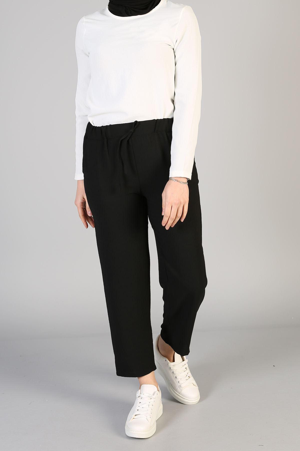 Lastikli Cepli Pantolon-Siyah