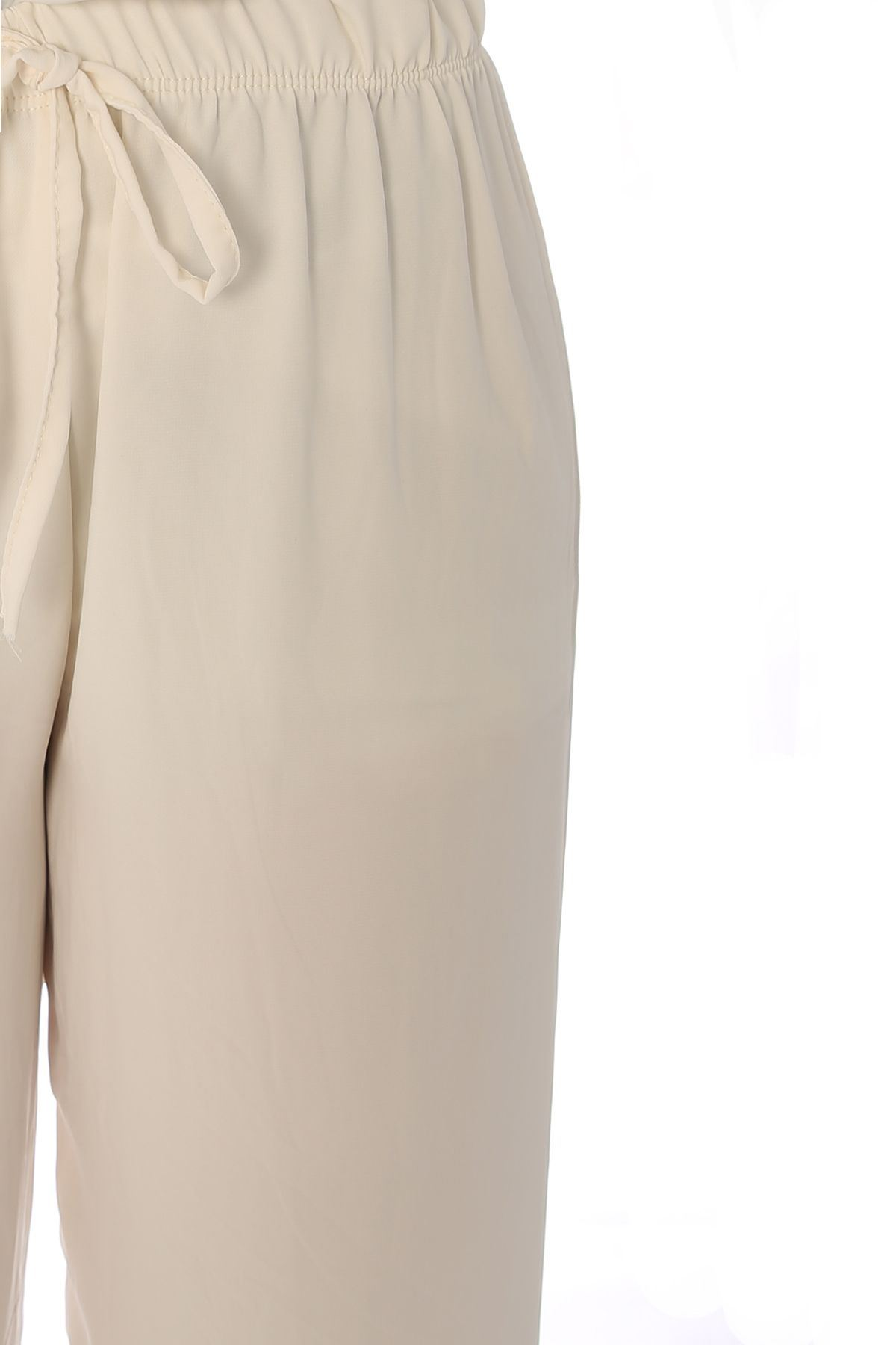 Bel Lastikli Bağlama Detay Bol Pantolon-Ekru