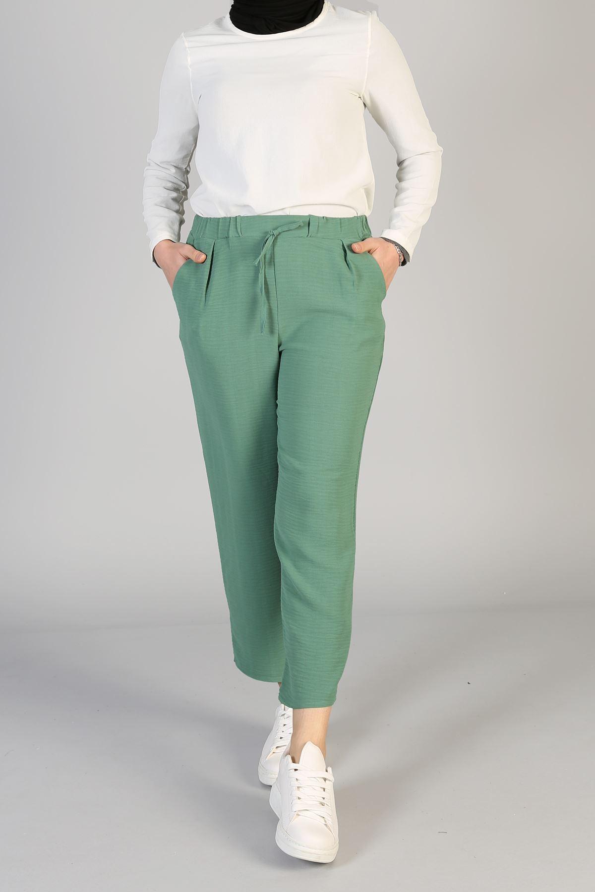 Lastikli Cepli Pantolon-Mint