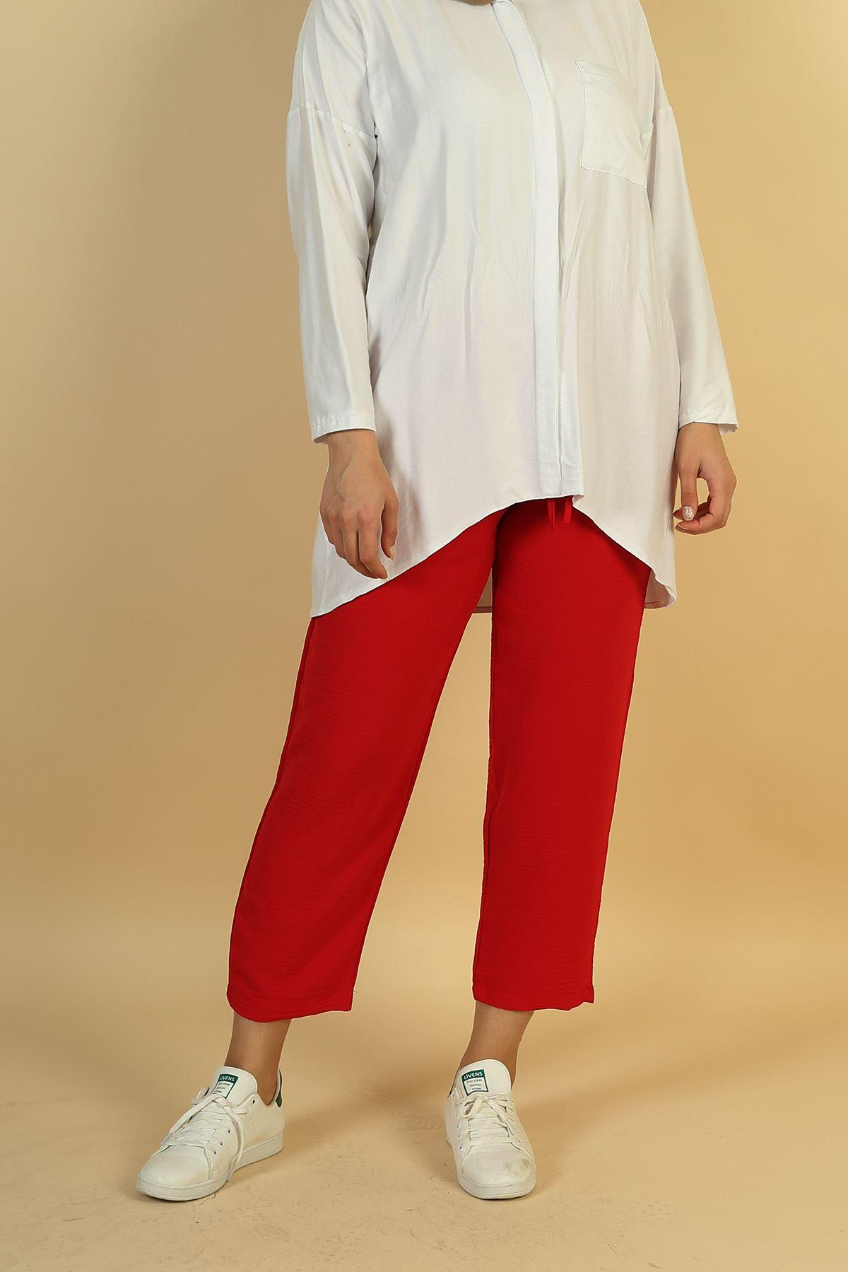 Cepli Lastikli Pantolon-Kırmızı