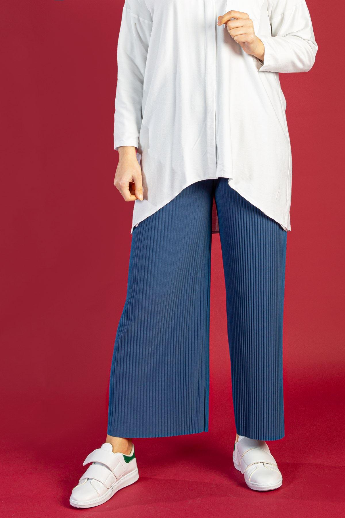 Piliseli Pantolon-İndigo