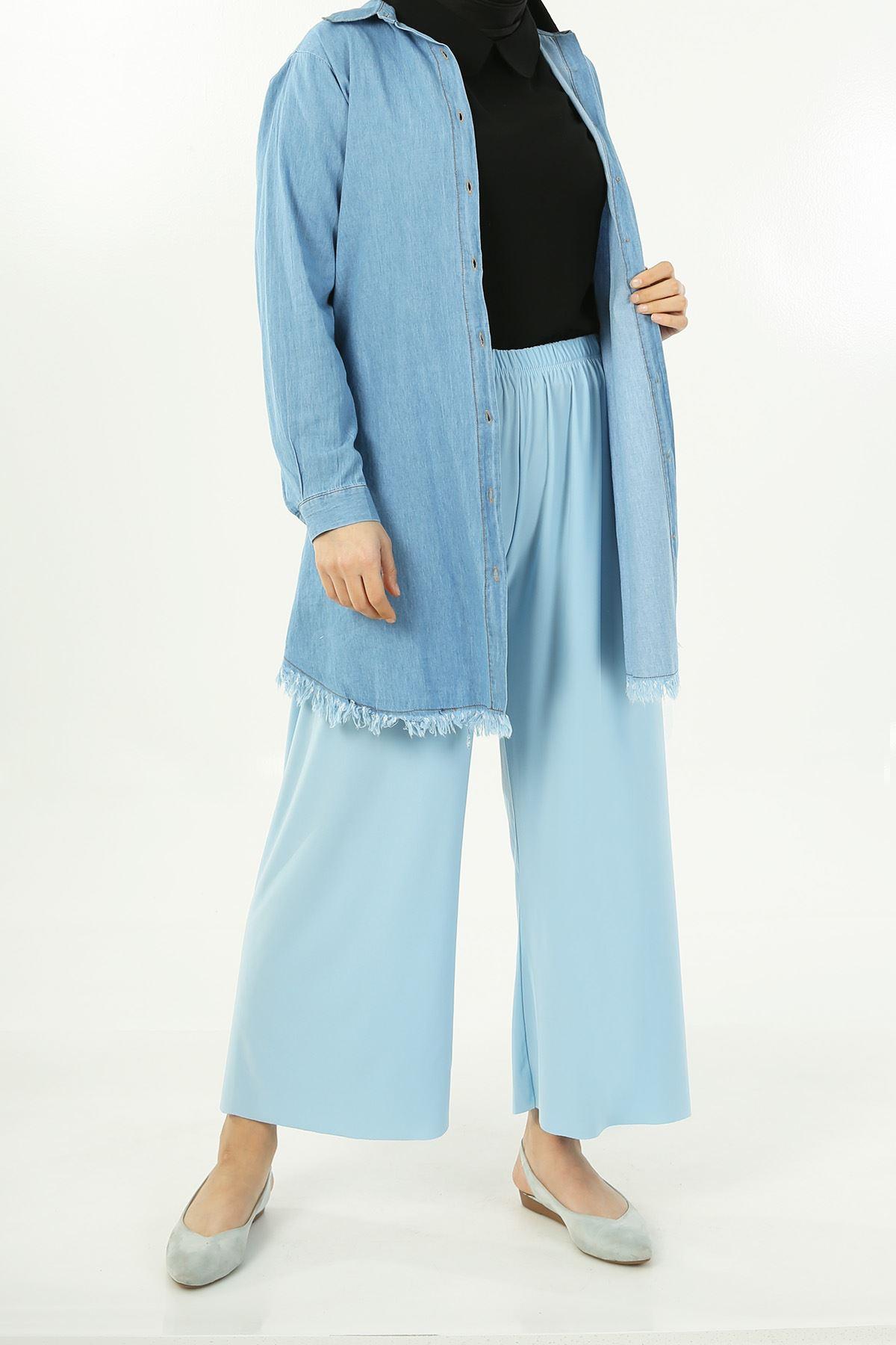 Lastikli Salaş Pantolon-Bebe Mavisi