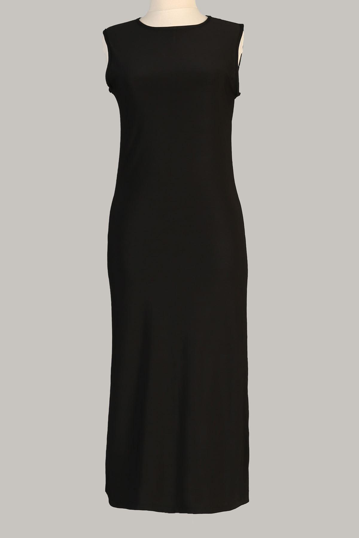 Sıfır Kol Uzun Tunik-Siyah