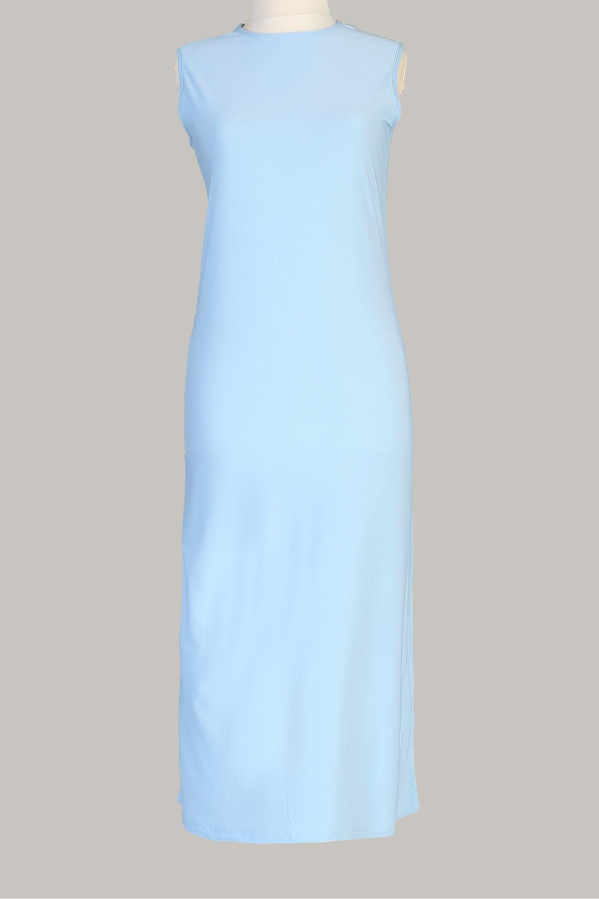 Sıfır Kol Uzun Sendy  Tunik-Bebe Mavisi