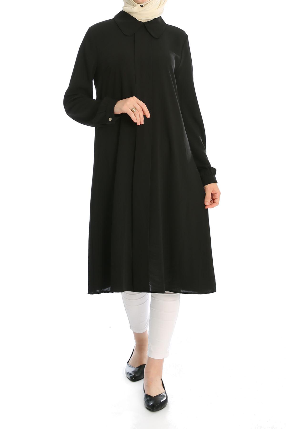 Ön Şerit Detay Tunik-Siyah