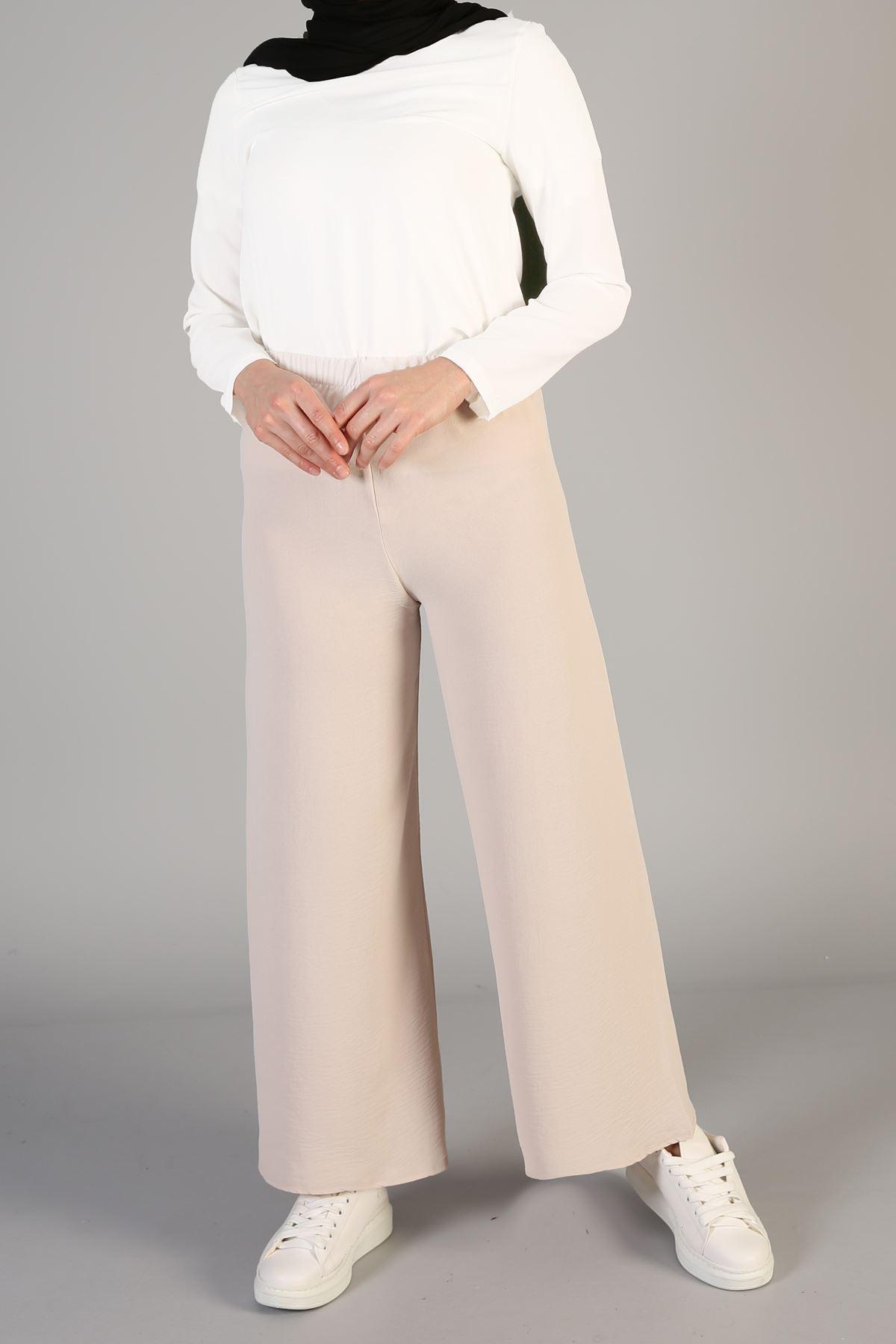 Bel Lastikli Bol Pantolon-Taş