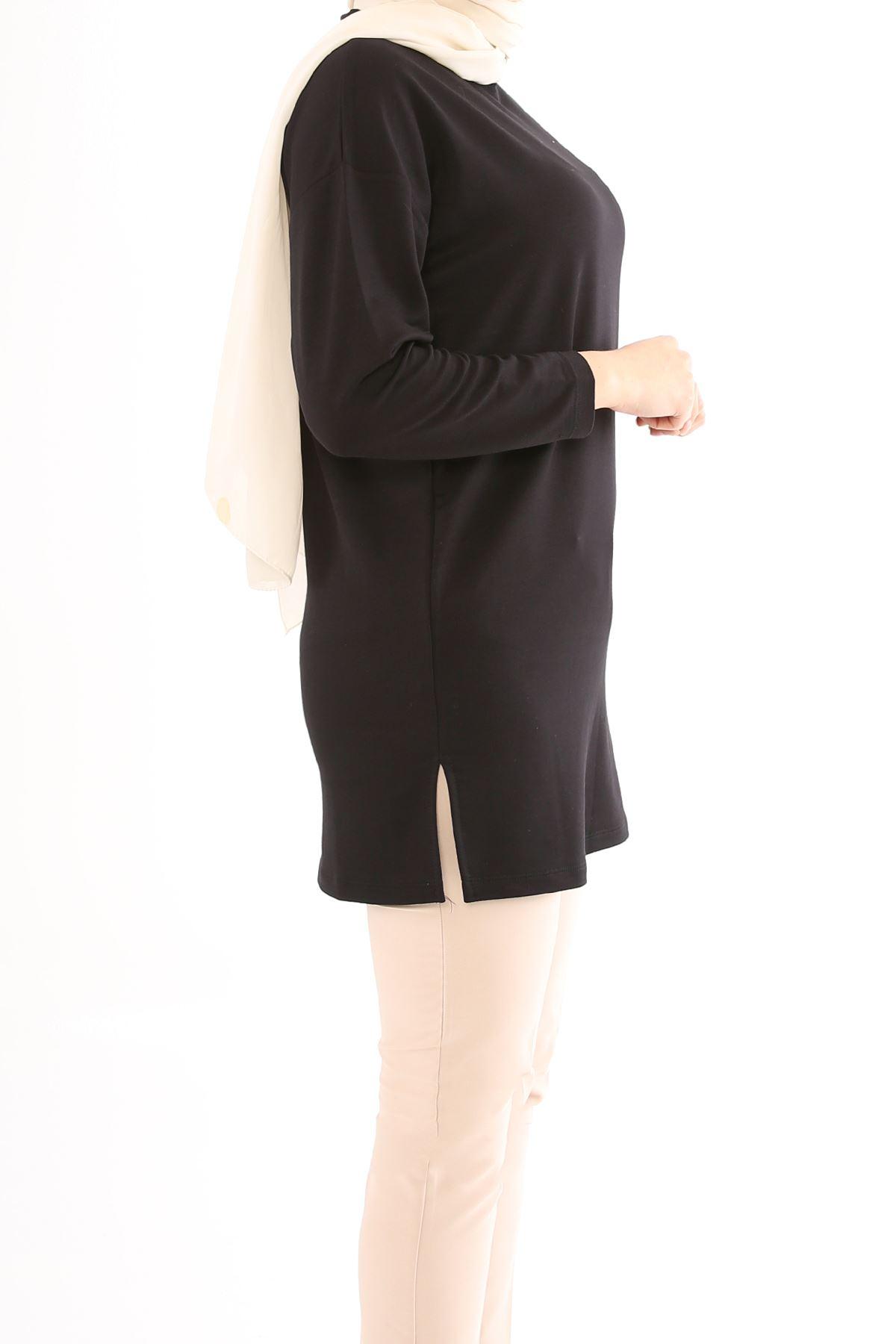 Yan Yırtmac Detay Tunik-Siyah
