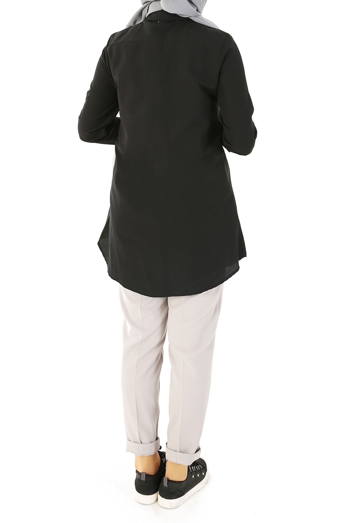 Düğmeli Klasik Tunik-Siyah