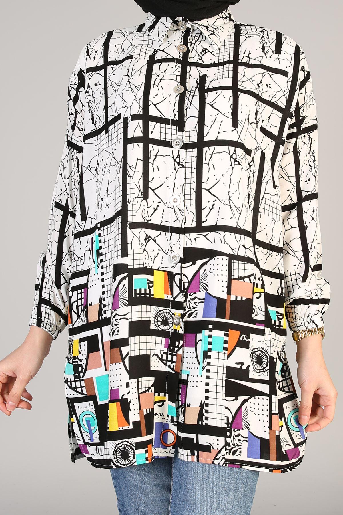 Yırtmaç Detay Desenli Tunik-Color
