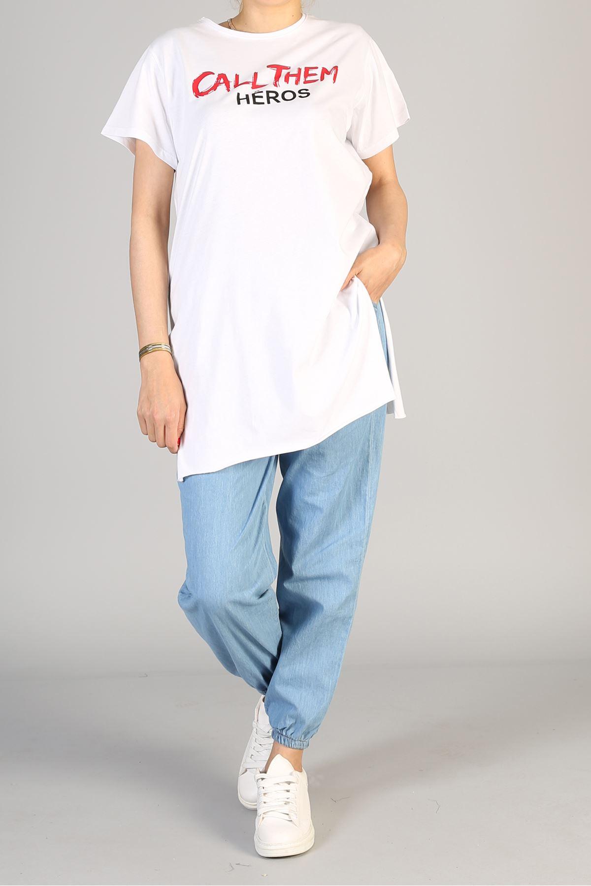 Baskılı Kısa Kol Uzun Tunik-Beyaz