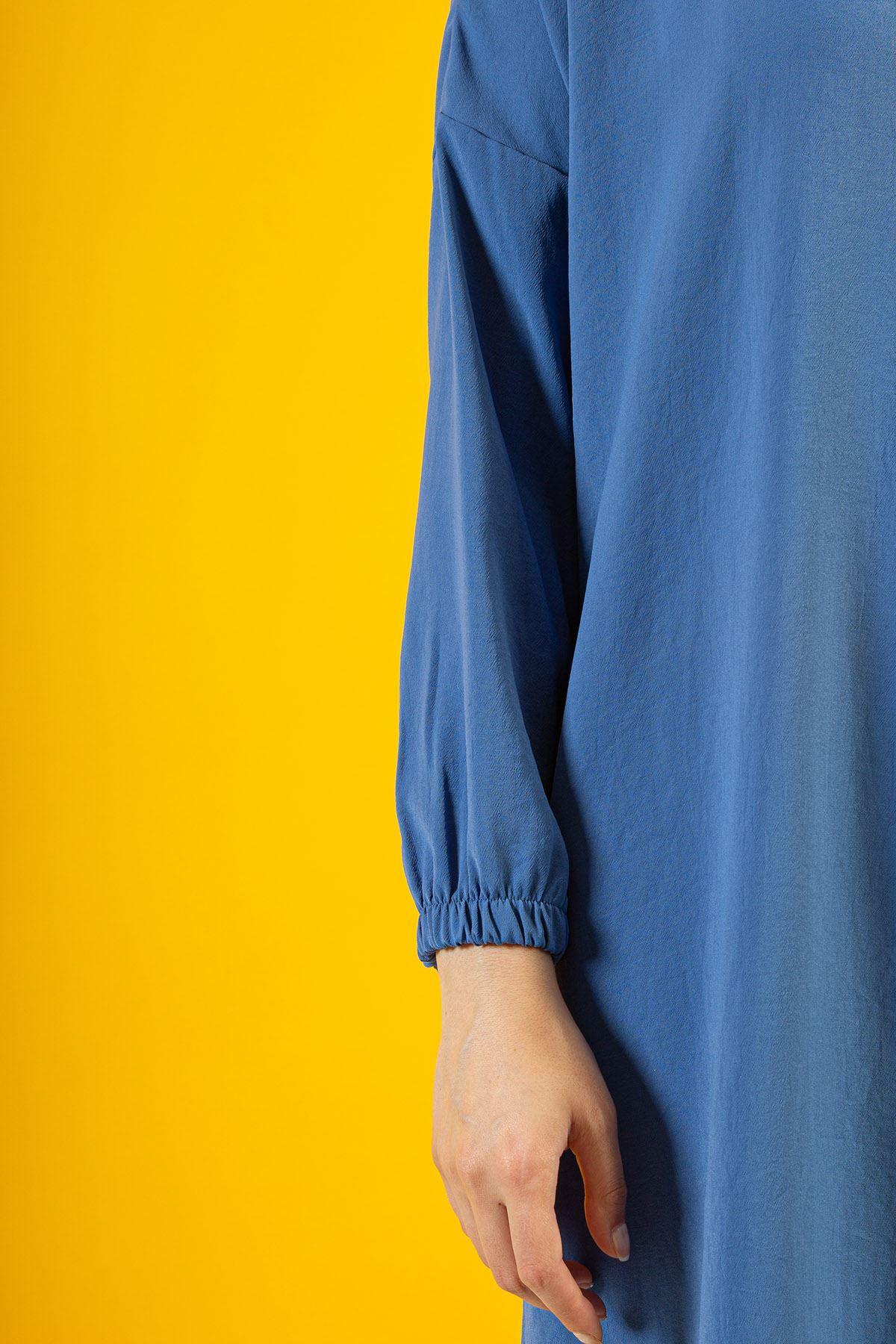 Yırtmaç Detay Düğmeli Tunik-İndigo
