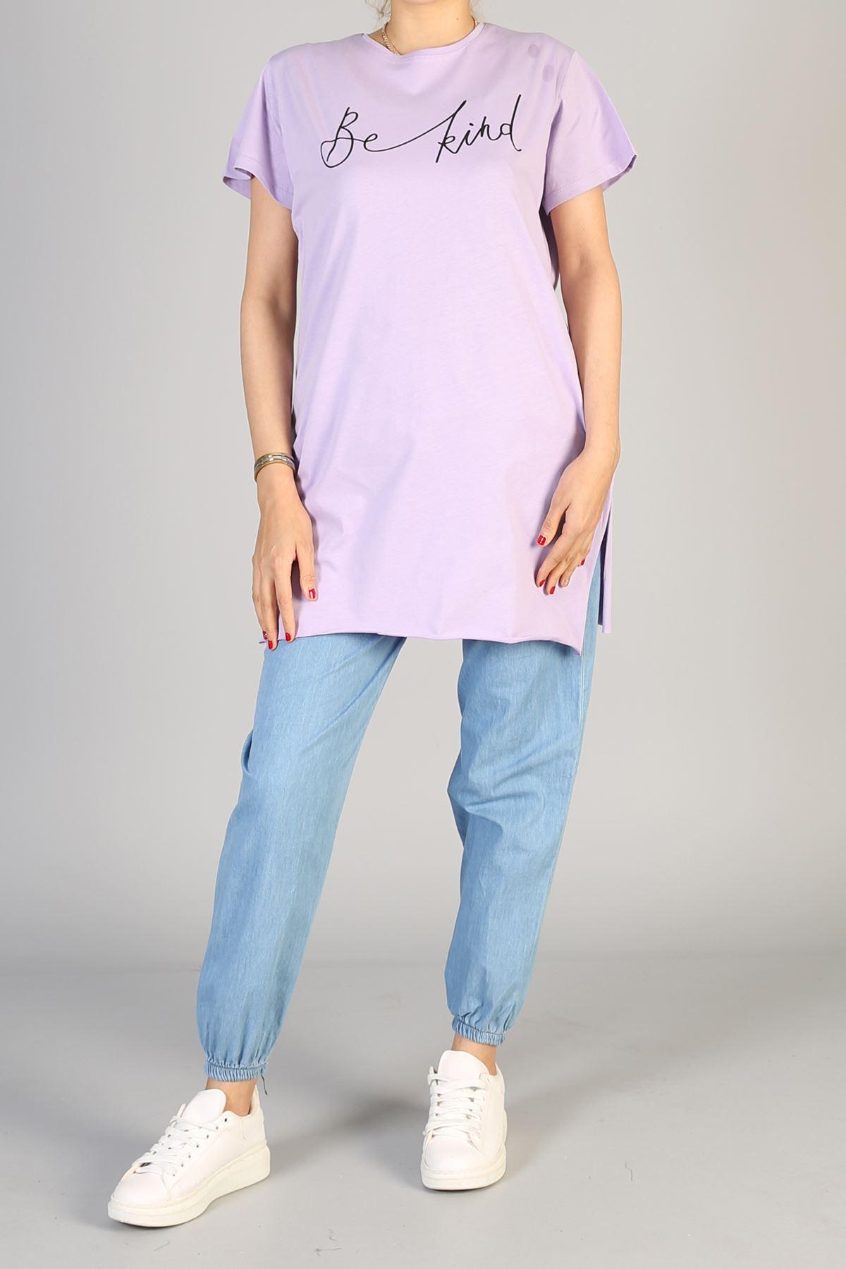 Baskılı Kısa Kol Uzun Tunik-Lila