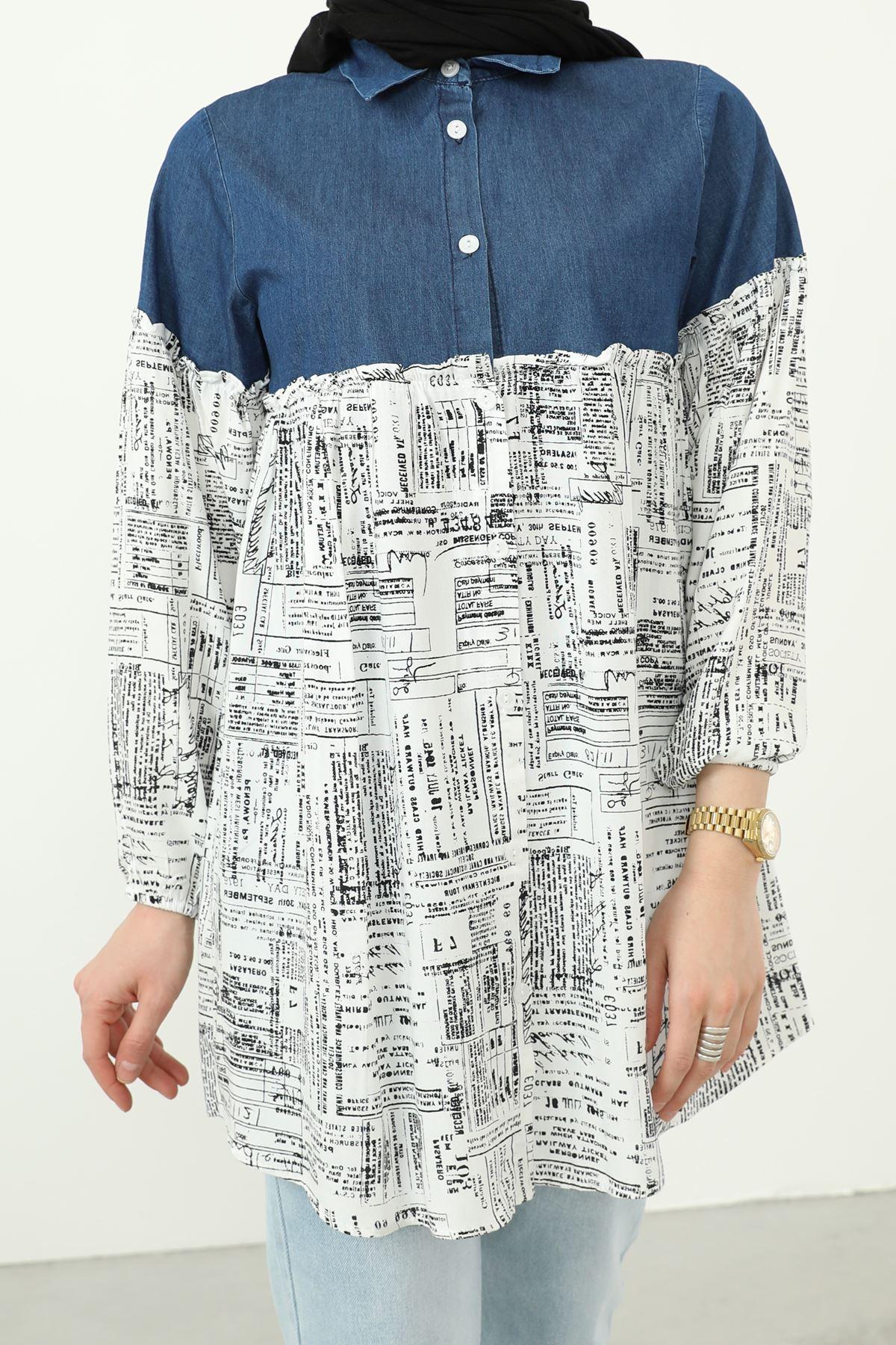 Yazı Baskılı Kot Detaylı Tunik-Kot Rengi
