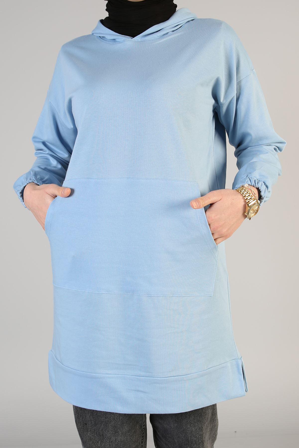 Ön Cep Detay Kapşonlu-Bebe Mavisi