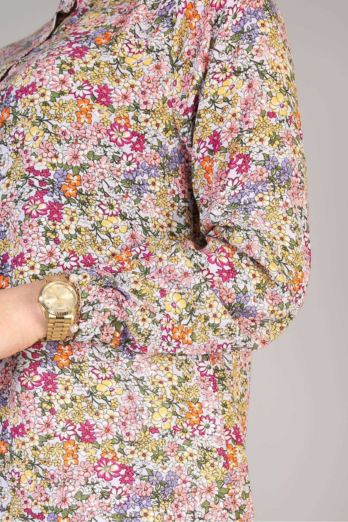 Düğme Detaylı Çiçek Desenli-Mavi