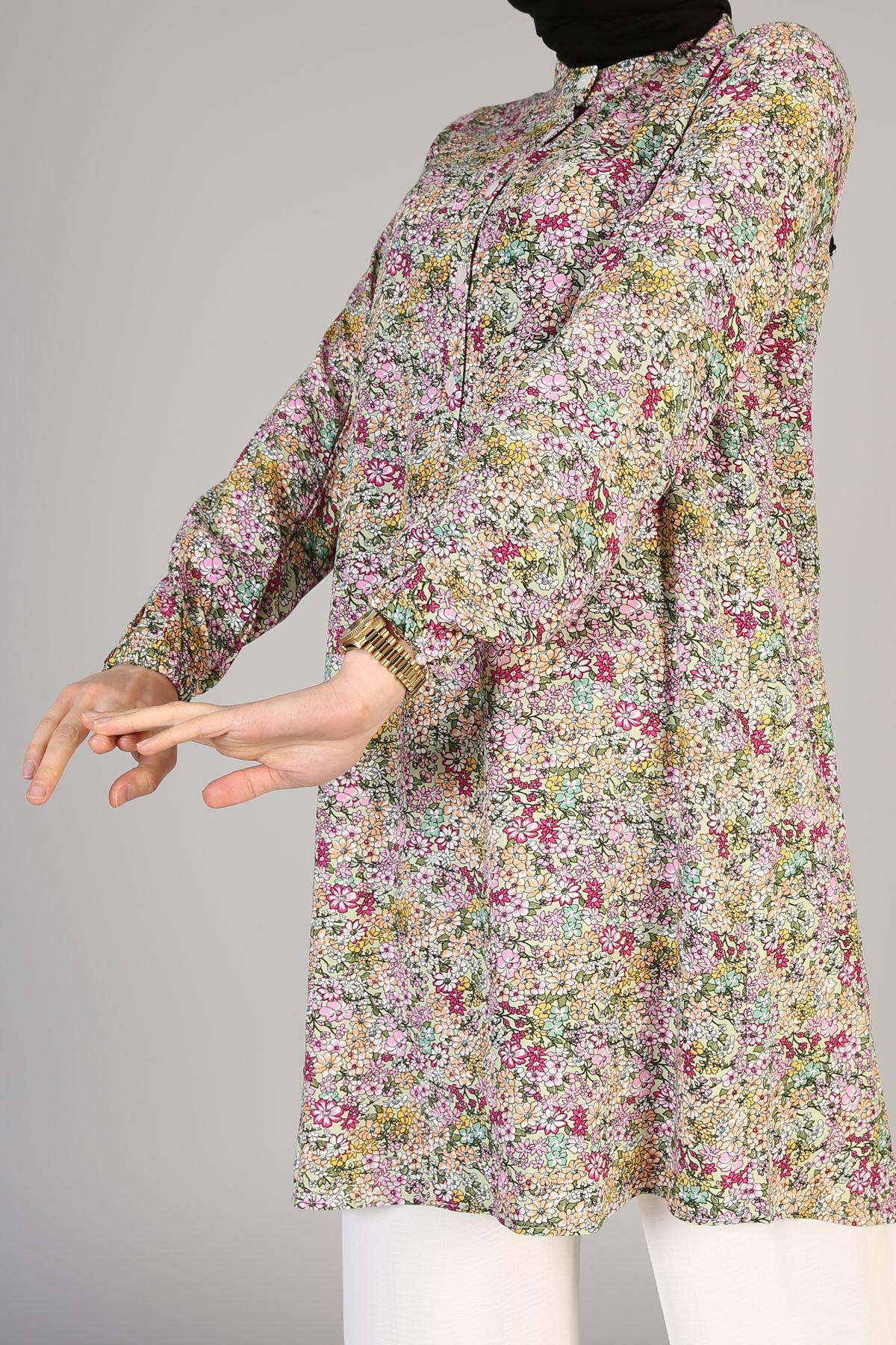 ÜLF-Düğme Detaylı Çiçek Desenli-Mint