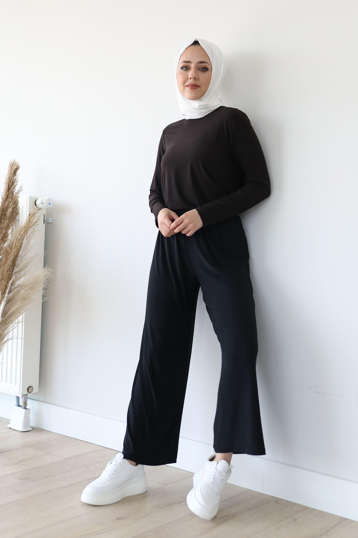Lastikli Salaş Pantolon-Siyah