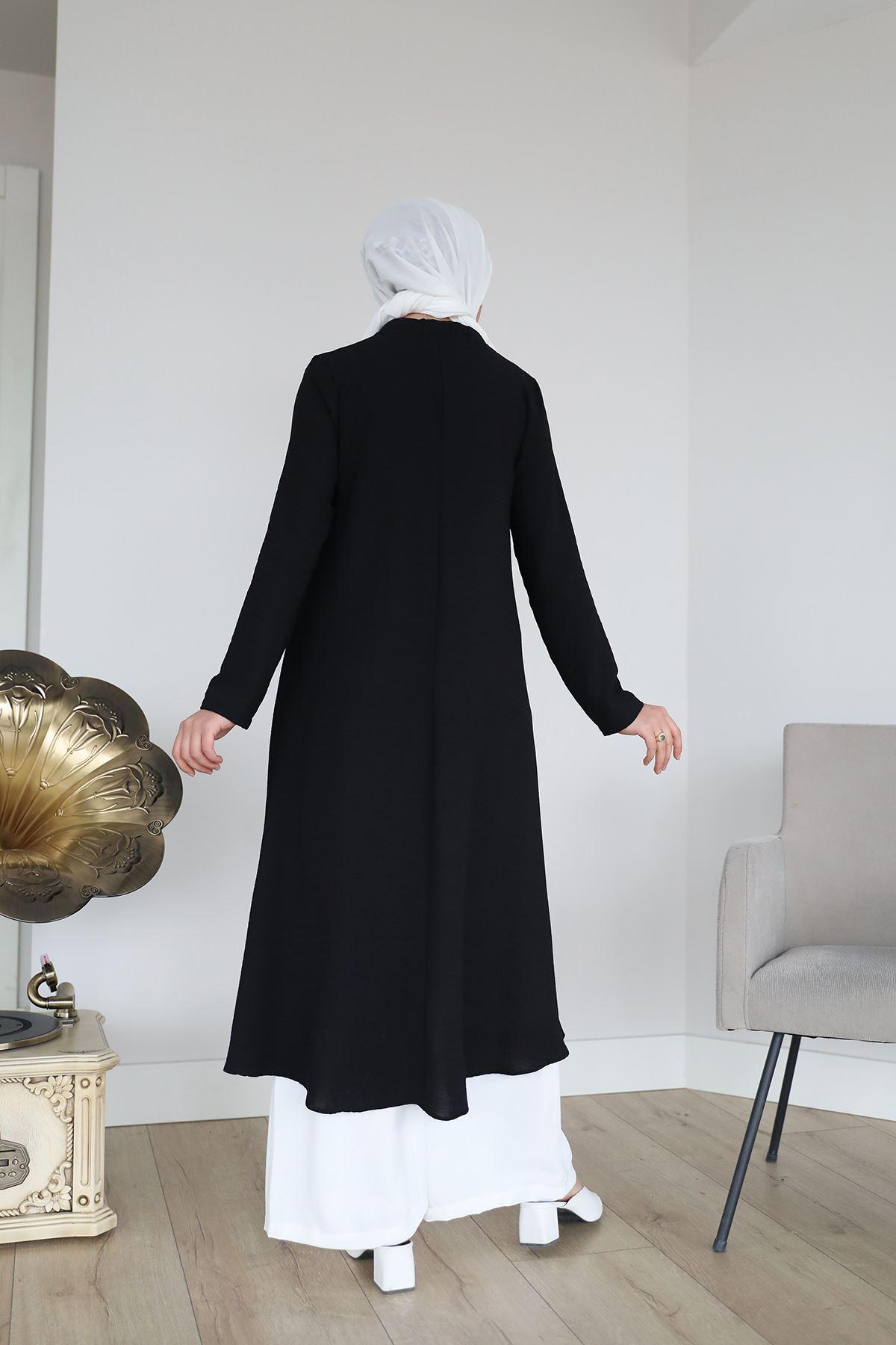 Yaka Bağlamalı Uzun Tunik-Siyah