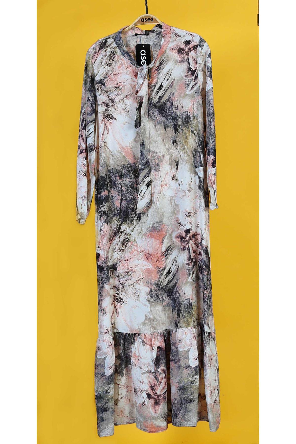 Etek Büzgülü Yaka Bağlamalı Elbise-Pudra
