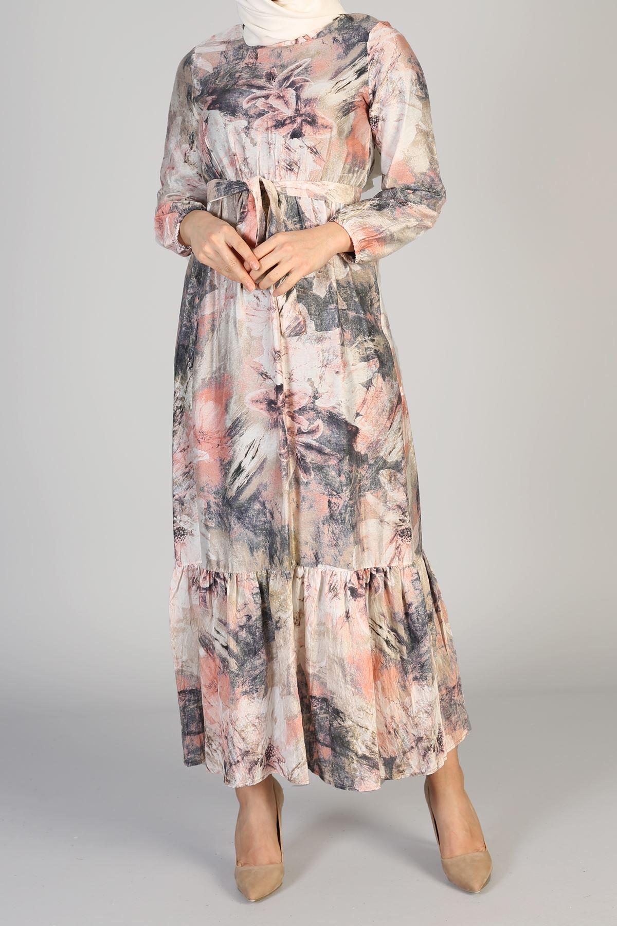 Etek Büzgülü Bel Lastikli Kuşaklı Elbise-Pudra