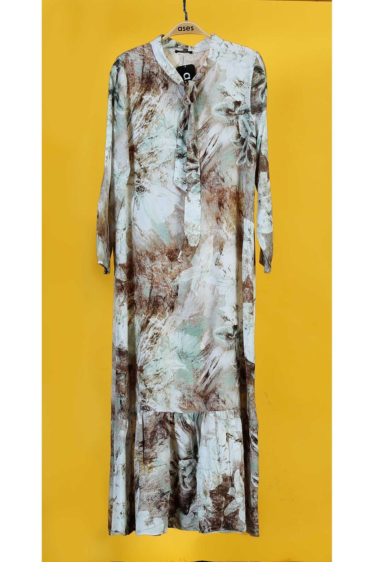 Etek Büzgülü Yaka Bağlamalı Elbise-Vizon
