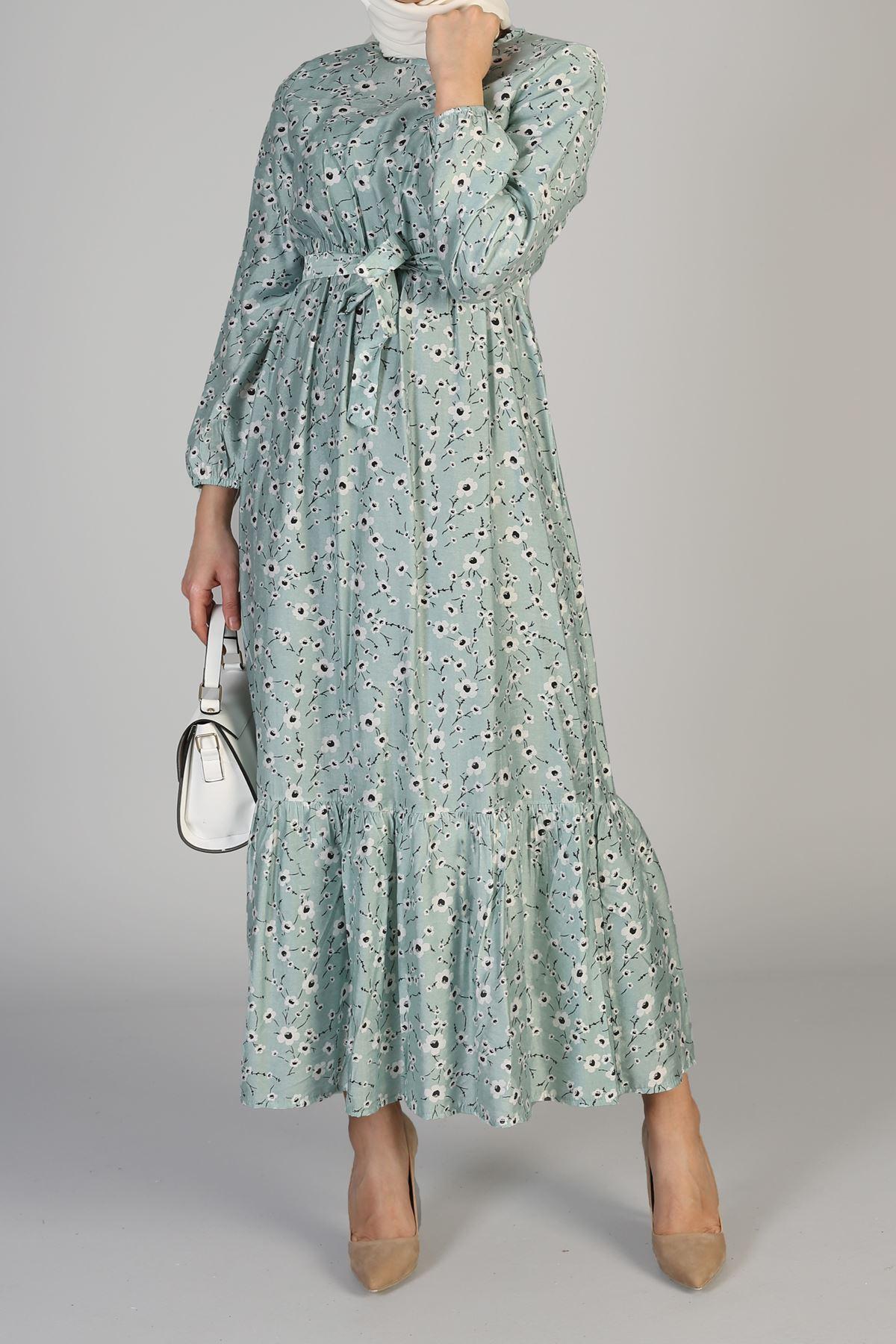 Etek Büzgülü Bel Lastikli Kuşaklı Elbise-Mint