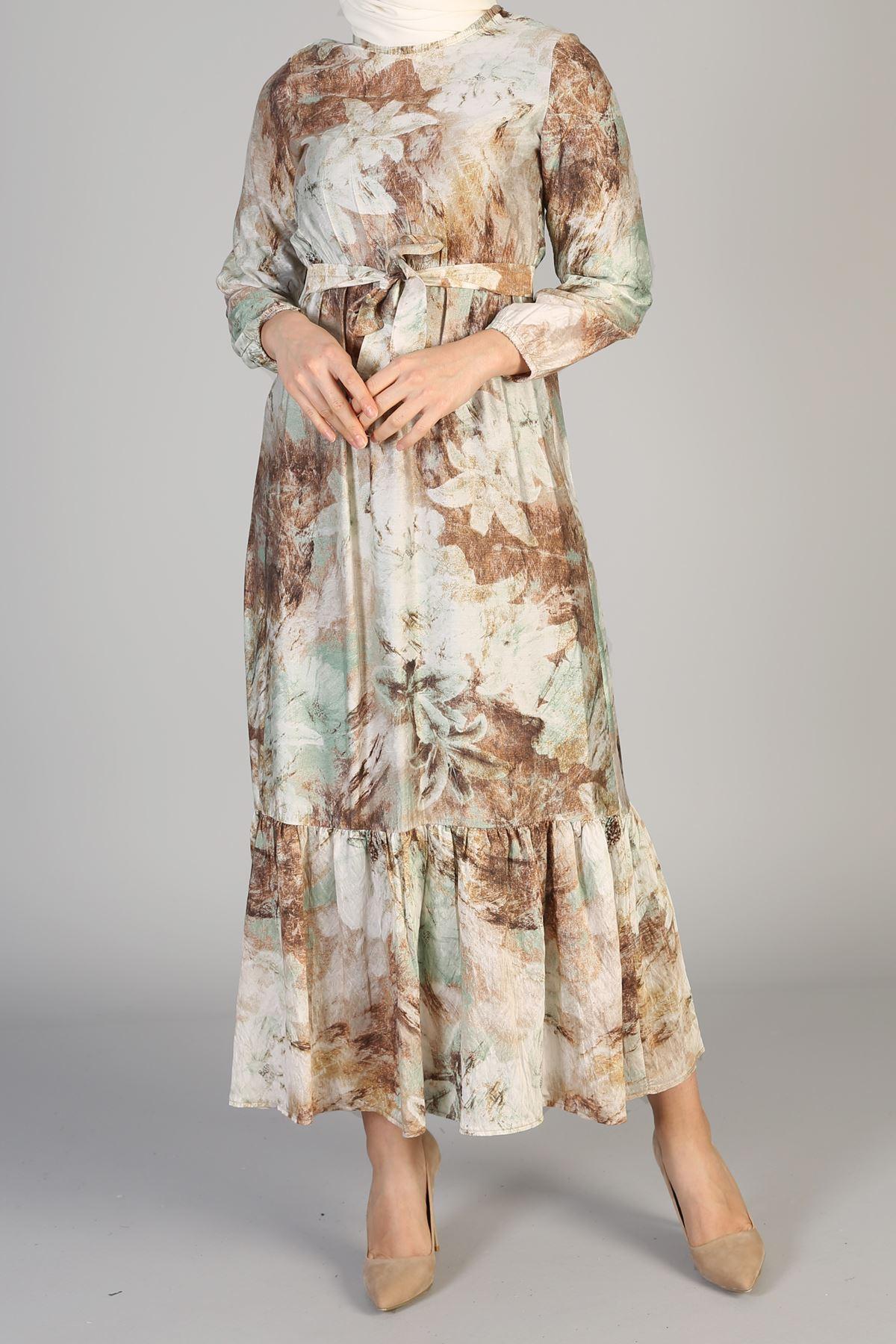 Etek Büzgülü Bel Lastikli Kuşaklı Elbise-Vizon