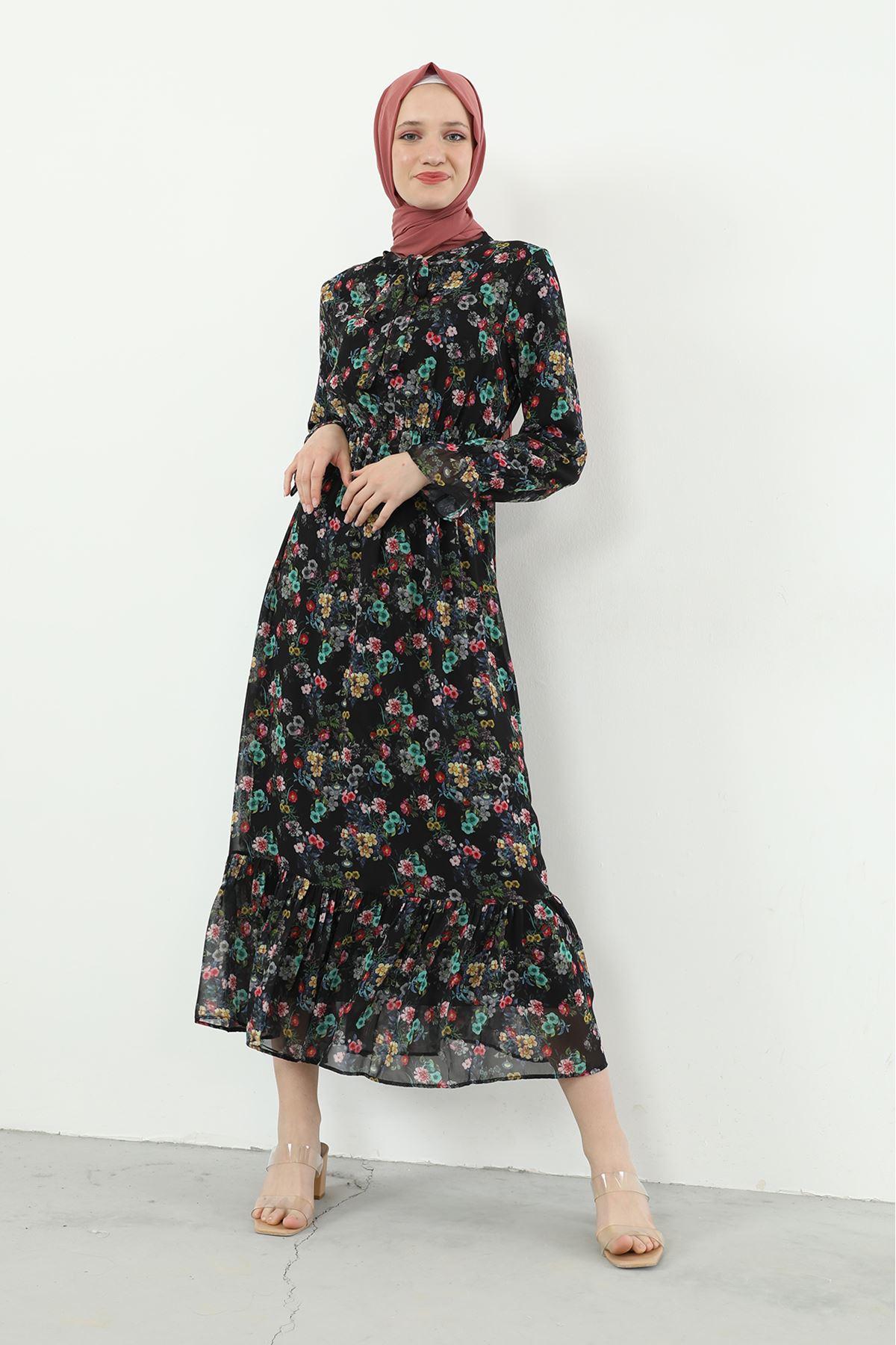 Yaka Bağlamalı Beli Lastikli Desenli Şifon Elbise-Siyah