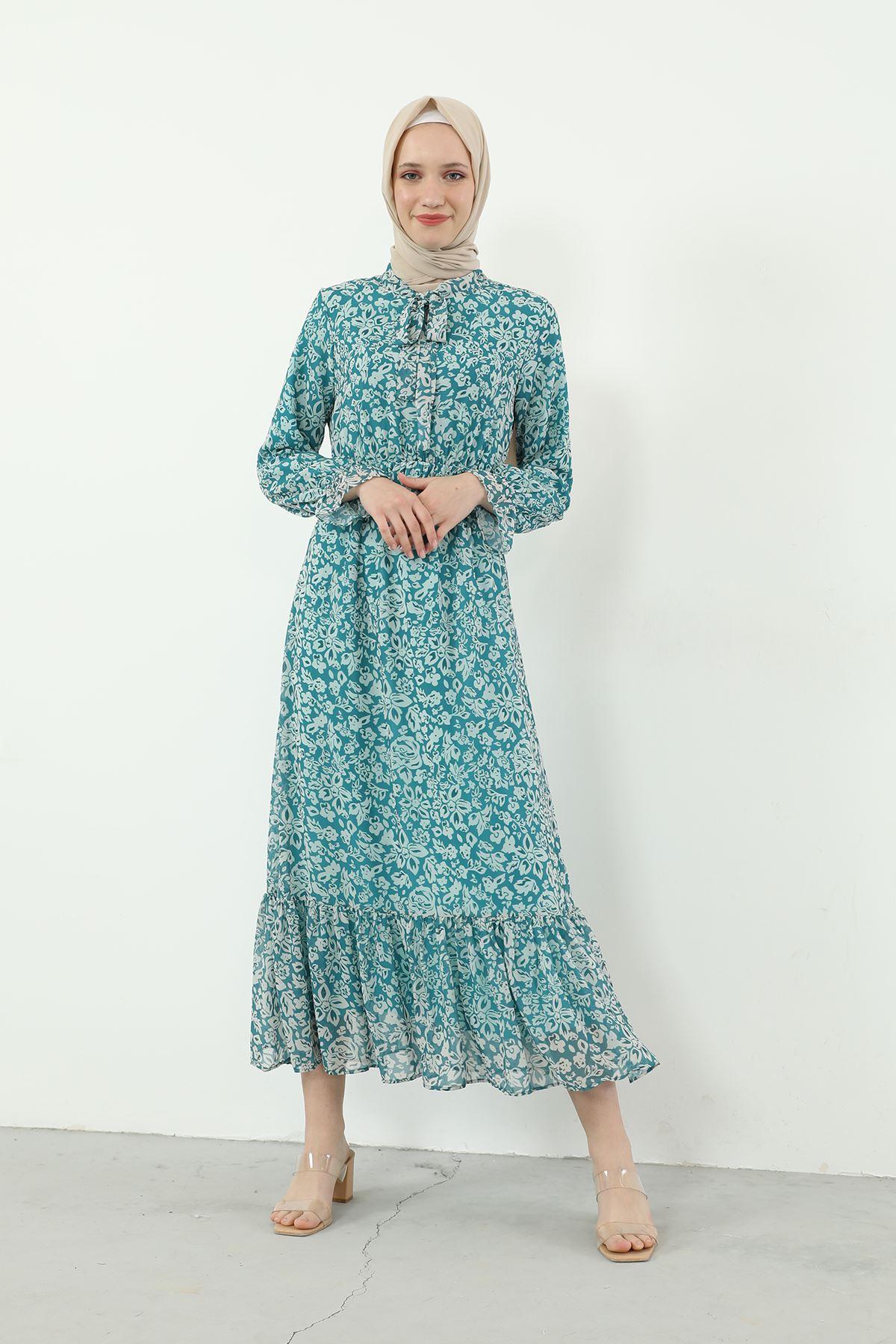 Yaka Bağlamalı Beli Lastikli Desenli Şifon Elbise-Mint