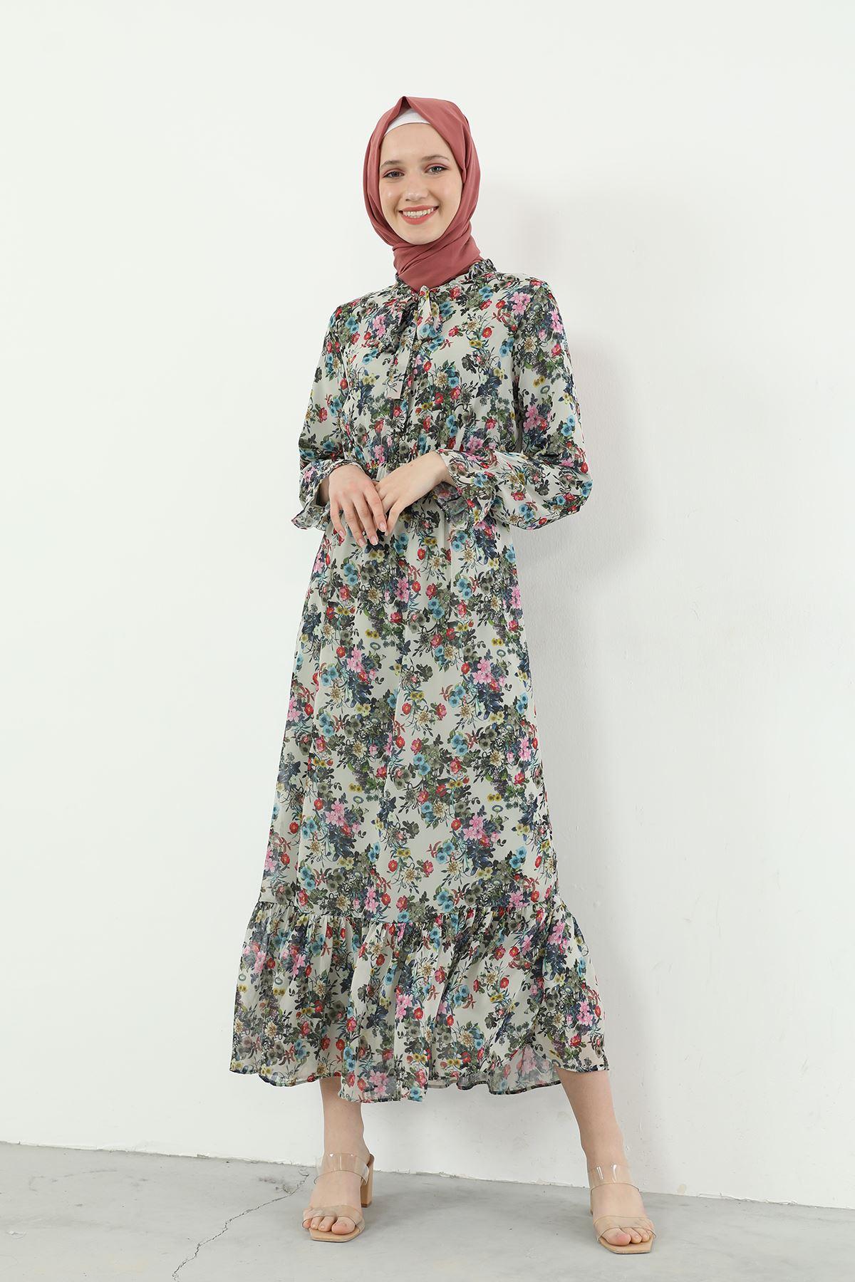 Yaka Bağlamalı Beli Lastikli Desenli Şifon Elbise-Ekru