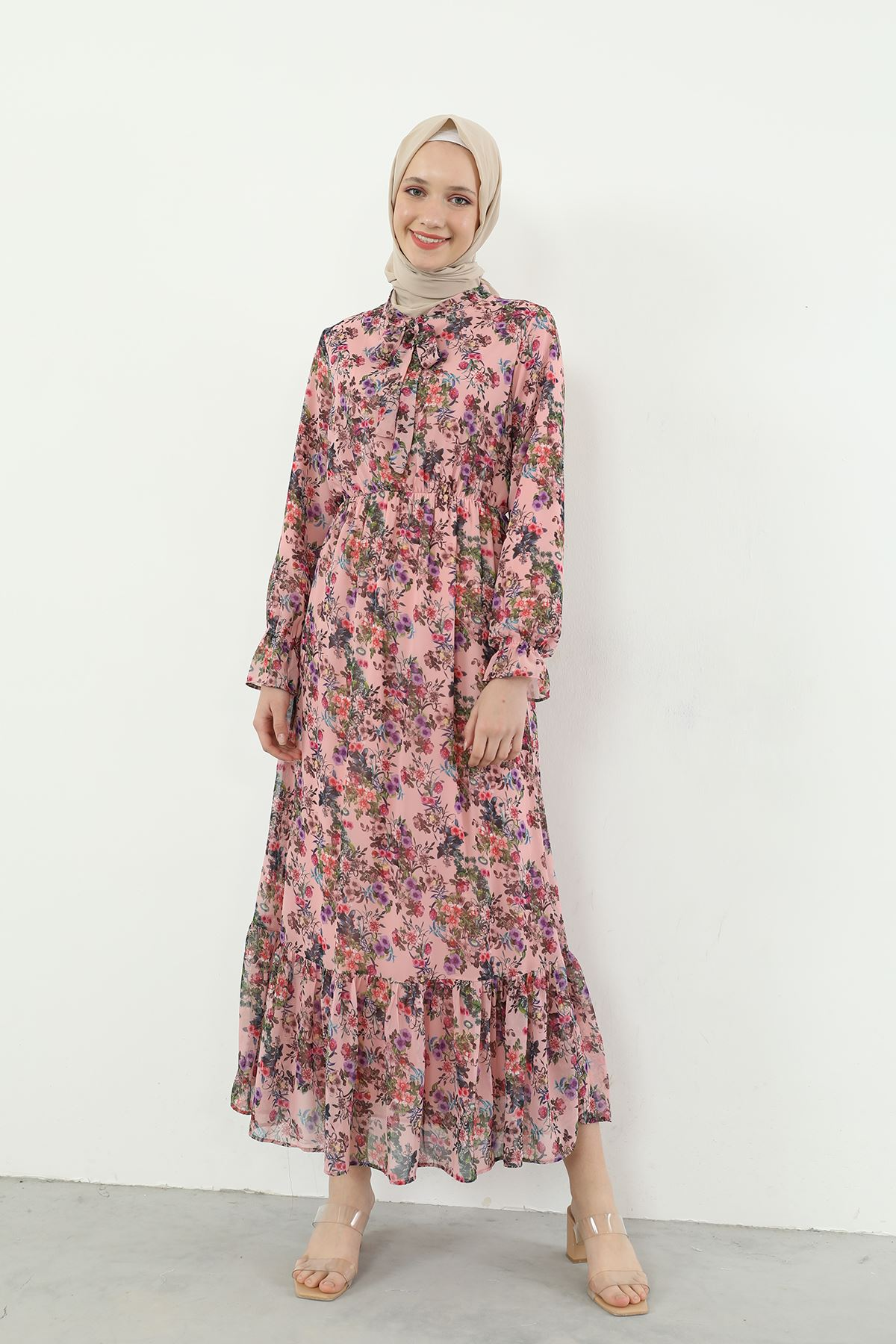 Yaka Bağlamalı Beli Lastikli Desenli Şifon Elbise-Gül Kurusu