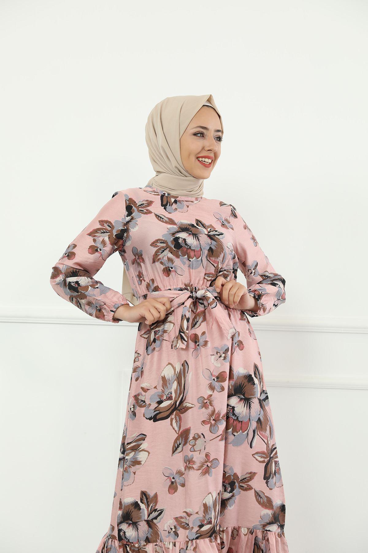 Etek Büzgülü Bel Lastikli Kuşaklı Elbise-Gül Kurusu