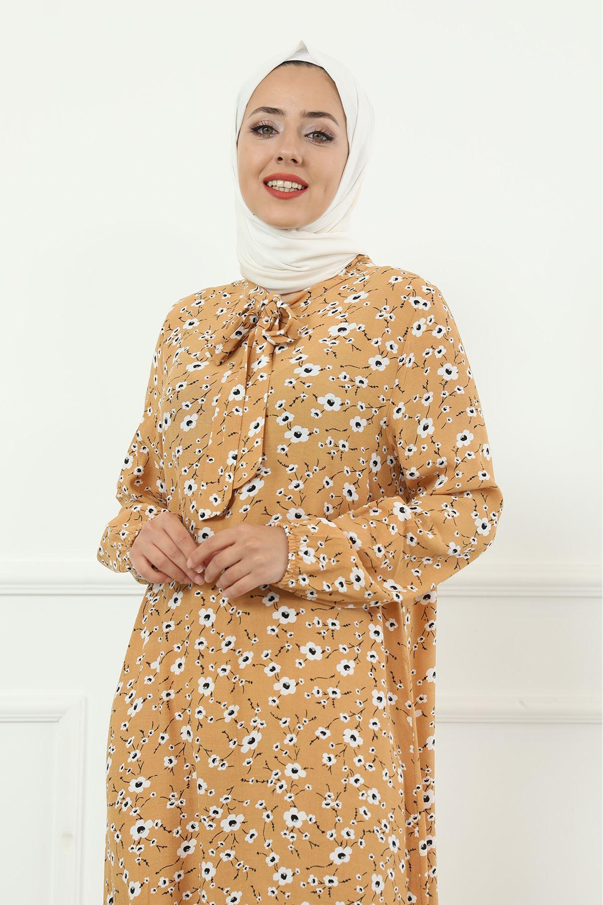 Etek Büzgülü Bel Lastikli Kuşaklı Elbise-Hardal