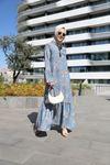 Yakası Fularlı Kolları Volanlı Eteği Fırfırlı Elbise-Mavi